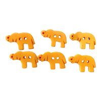 Six (6) Miniature Elephant Cream Bakelite Buttons