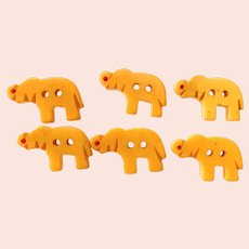 Six (6) Miniature Elephant Cream Bakelite Buttons