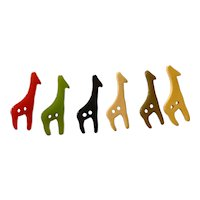 Six (6) Miniature Giraffes Multicolor Bakelite Buttons
