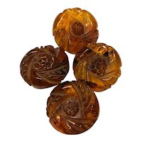 Set of Four (4) Floral Carved Root Beer Tortoise Bakelite Buttons
