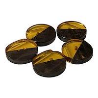 Set of Five (5) Apple Juice Black Laminated Bakelite Disc Buttons