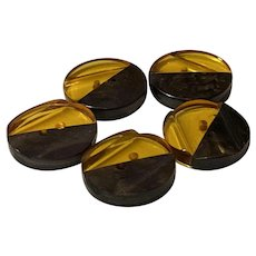 Set of Five (5) Apple Juice Black Laminated Bakelite Disc Buttons