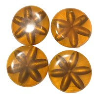 HUGE Set of Four (4) Reverse Carved and Painted Apple Juice Bakelite Buttons