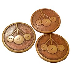 Set of Three (3) Resin Washed Carved Celluloid Coat Buttons