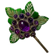 RARE Bakelite and Amethyst BLUMENTHAL Large Leaves and Flowers Brooch Pin