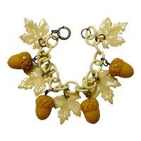 1930s Cellulose Chain Link Cream Bakelite Acorns and Leaves Link Bracelet