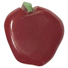 Fun 1930s RED Bakelite Figural Apple Button