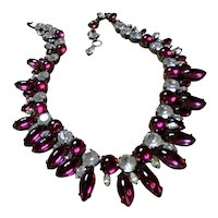 Schreiner Fuschia and Clear Cabochon Necklace