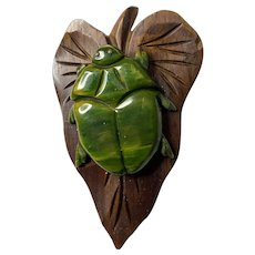 RARE 1930s Wood and Green Bakelite Beetle on a Leaf Brooch Pin.