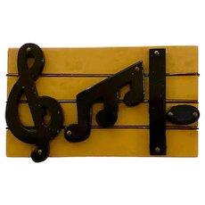 Ultra Rare 1930s Cream and Black Figural Bakelite Sheet Music Brooch Pin MUSICAL