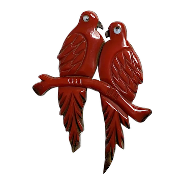 Rare and Exotic 1930s RED Bakelite on Wood Lovebirds  Pin Brooch