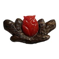 1930s Red Bakelite and Wood Owl and Tree Bark Pin Brooch