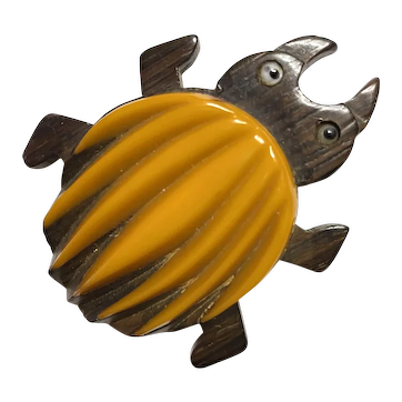 Surreal  Exotic 1930s Golden Yellow Bakelite on Wood Chigger Insect Pin Brooch