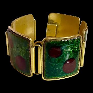 Mid Century Modern European Enamel Brass  Panelled Link Bracelet