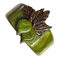 Leafy Marbelized Jade Green Bakelite and Wood Figural Radishes Hinged Bracelet