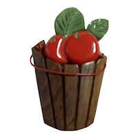RARE 1930s Wood and Red Bakelite Tomatoes in a Barrel Pin Brooch.
