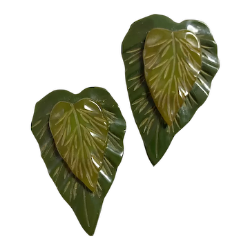 Pair (2) Double Layered 1930s Green Bakelite Dress Clips Pins