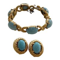 1950s JOMAZ Faux Turquoise Goldtone Link Bracelet and Earring Set