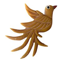 1930s Bakelite Bird with Elaborate Carved Tail Feathers Brooch Pin
