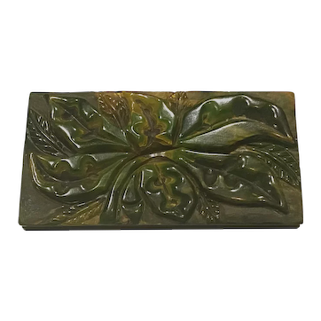 1930s Heavy Carved Rectangular Green Floral End of Day Marbelized Bakelite Brooch Pin