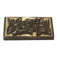 1930s Black Bakelite and Brass Floral Carved Rectangular Brooch Pin