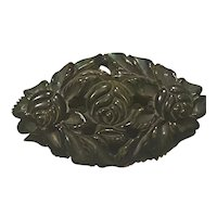 1930s Green Black Heavy Floral Carved Rounded Diamond Shaped Pin Brooch
