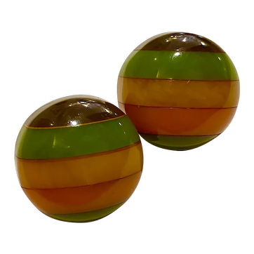 1930s Five Color Laminated Bakelite Circular Domed Pierced Earrings
