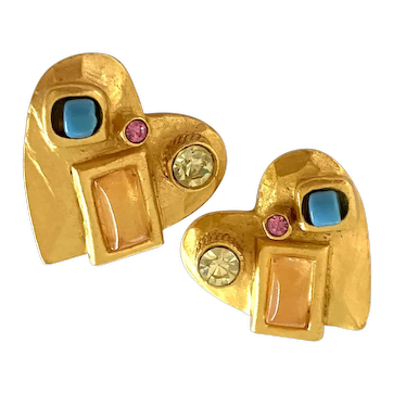 1990s Christian Lacroix Brushed Gold and Exotic Stonework Heart Clip Back Earrings