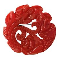 Spectacular 1930s Brilliant RED Elaborately Carved Chunky Circular Brooch Pin