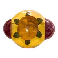 1930s Apple Juice and Maroon Bakelite Laminated Reverse Carved and Painted Pansy Flower Brooch Pin