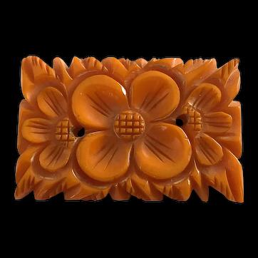 1930s Orange Bakelite Heavy Carved Rectangular Floral Detail Brooch Pin