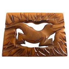 1930s Rare Bakelite Framed  Figural Alligator Pin Pyrographic Detail Carved Brooch Pin
