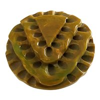 1930s Marbelized Green Carved Bakelite Geometric Pin Brooch