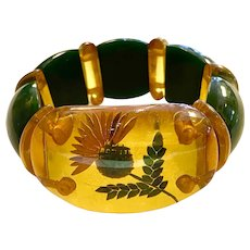 Rare 1930s Reverse Carved and Painted Apple Juice Bakelite THISTLE Stretch Bracelet