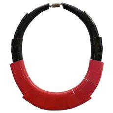 RARE 1930s Auguste BONAZ Galalith Red Black Geometric MODERNE Necklace