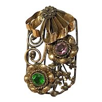 1940s Hobe Sterling and Gold Filled Floral Filigree Brooch Pin
