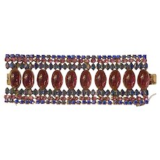 Rare and Important Verified SCHREINER Faux Amethyst and Sapphire WIDE Link Bracelet