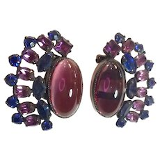 Rare and Important Verified SCHREINER Faux Amethyst and Sapphire Clip Back Earrings