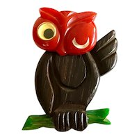RARE 1930s Bakelite and Wood Googly Eyed Owl on Branch Brooch Pin