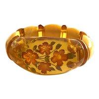 Romantic 1930s Reverse Carved and Painted Apple Juice Bakelite Cornflowers Stretch Bracelet