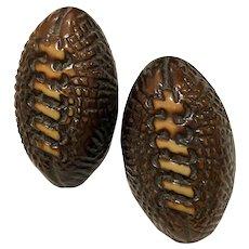 1920s Celluloid Figural Football Clip on Earrings