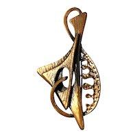 1950s COPPER Super Modernist Biomorphic Pin Pendant by REBAJES