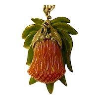Rare 1930s 2 Color Bakelite THISTLE Pendant Necklace on Chain