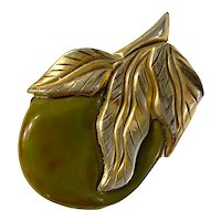 Unusual 1930s Canadian Gold Clad  Bakelite Leaves and Fruit Pin