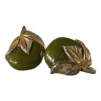 Unusual 1930s Canadian Gold Clad Bakelite Leaves and Fruit Clip Earrings