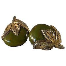 Unusual 1930s Canadian Gold Clad Bakelite Leaves and Fruit Clip Earrings