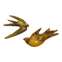 Rare Resin Washed 1930s Bakelite Pair of Birds Scatter Pin Brooch Set (2)
