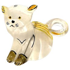 1940s Lucite Acrylic Hand Painted Kitty Cat Pin Brooch