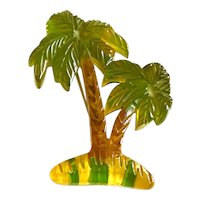 1930s Figural Bakelite Carved and Reverse Painted Apple Juice Palm Tree Brooch Pin