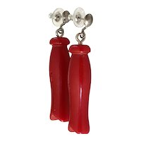 1930s Red Bakelite Laundry Themed Figural Clothespins Drop Pierced Earrings
